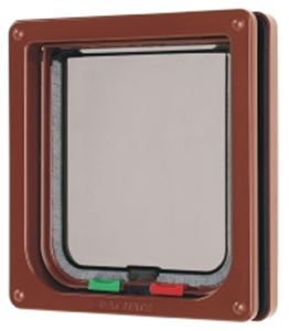 Picture of 4 Way Locking Cat Flap Brown 16.5x17.4cm