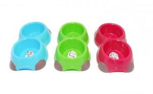 Picture of Colours Retro Double Feeding Bowl Assorted 350ml
