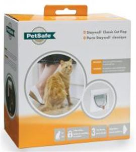 Picture of Staywell Classic Manual 4 Way Locking Cat Flap White Tunnel