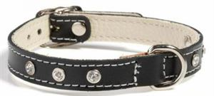 Picture of Doggy Things Fantasia Leather Dog Collar Black 30cm