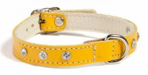 Picture of Doggy Things Fantasia Leather Dog Collar Yellow 45cm