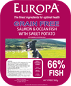 Picture of Europa Grain Free Salmon & Ocean Fish with Sweet Potato 395g Tray
