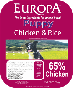 Picture of Europa Puppy Chicken & Rice 395g Tray